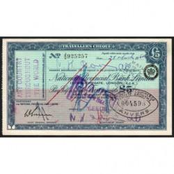 Grande-Bretagne - Chèque Voyage - National Provincial - 5 pounds - 1964 - Etat : SUP