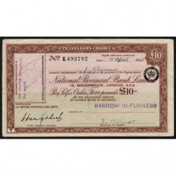 Grande-Bretagne - Chèque Voyage - National Provincial - 10 pounds - 1963 - Etat : TTB