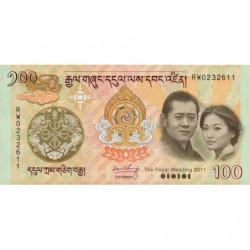 Bhoutan - Pick 35 - 100 ngultrum - 2011 - Série RW - Billet commémoratif - Etat : NEUF