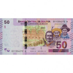 Bolivie - Pick 250 - 50 bolivianos - Loi 1986 (2018) - Etat : NEUF