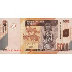 Rép. Démocr. du Congo - Pick 102b - 5'000 francs - Série R J - 30/06/2013 - Etat : NEUF