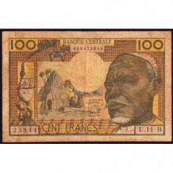Centrafrique - Afrique Equatoriale - Pick 3b - 100 francs - 1963 - Etat : B+