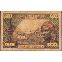 Centrafrique - Afrique Equatoriale - Pick 4f - 500 francs - Série D.11 - 1963 - Etat : B