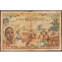 Centrafrique - Pick 11 - 5'000 francs - Série W.3 - 01/01/1980 - Etat : B+