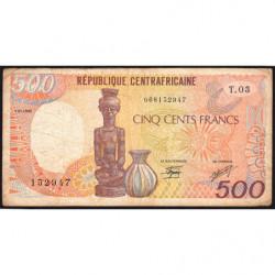 Centrafrique - Pick 14d - 500 francs - Série T.03 - 01/01/1989 - Etat : TB-