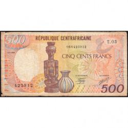 Centrafrique - Pick 14d - 500 francs - Série T.03 - 01/01/1989 - Etat : B+