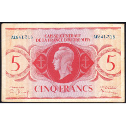 AEF - Pick 15a - 5 francs France Outre-Mer- 02/02/1944 - Rarissime série AE - Etat : TTB