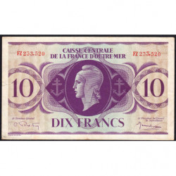 AEF - Pick 16b - 10 francs France Outre-Mer - Rarissime série FZ - 02/02/1944 - Etat : TTB+