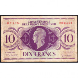 AEF - Pick 16b - 10 francs France Outre-Mer - Rarissime série FZ - 02/02/1944 - Etat : TB+