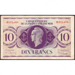 AEF - Pick 16b - 10 francs France Outre-Mer - 02/02/1944 - Rarissime série FZ - Etat : TTB+