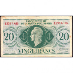 AEF - Pick 17b - 20 francs France Outre-Mer - 02/02/1944 - Rarissime série LE - Etat : TTB