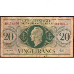 AEF - Pick 12a - 20 francs France Libre - 02/12/1941 - Série LB - Etat : B+