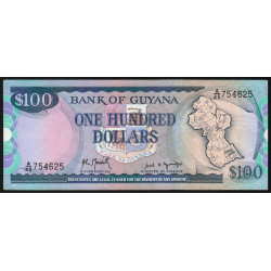 Guyana - Pick 28_2 - 100 dollars - 1989 - Série A - Etat : SUP