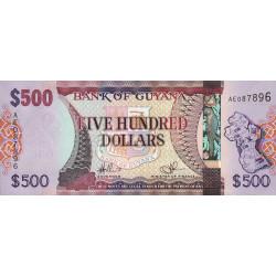 Guyana - Pick 37_1 - 500 dollars - 2011 - Série AE - Etat : NEUF