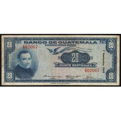 Guatémala - Pick 27 - 20 quetzales - 07/09/1947 - Etat : TB+