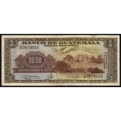 Guatémala - Pick 51e - 0,50 quetzal - 03/01/1968 - Série Q - Etat : TB