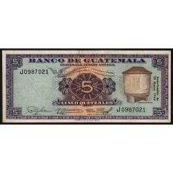Guatémala - Pick 53b - 5 quetzales - 15/01/1965 - Série J - Etat : TTB