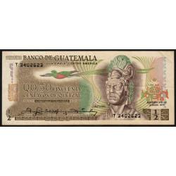 Guatémala - Pick 58c - 0,5 quetzal - 04/01/1978 - Etat : TTB+