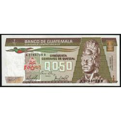 Guatémala - Pick 65_4 - 0,50 quetzal - 09/01/1985 - Série AB - Etat : NEUF
