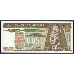 Guatémala - Pick 65_8 - 0,5 quetzal - 06/01/1988 - Série AD - Etat : NEUF