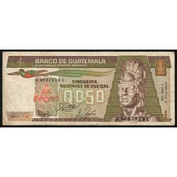 Guatémala - Pick 65_8 - 0,5 quetzal - 06/01/1988 - Série AE - Etat : B+