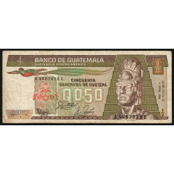 Guatémala - Pick 65_8 - 0,50 quetzal - 06/01/1988 - Série AE - Etat : B+