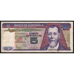 Guatémala - Pick 67_4 - 5 quetzales - 03/01/1986 - Série DB - Etat : TB-
