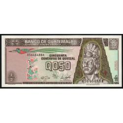 Guatémala - Pick 72a - 0,50 quetzal - 04/01/1989 - Série AA - Etat : NEUF