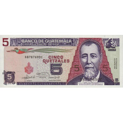 Guatémala - Pick 74c - 5 quetzales - 22/01/1992 - Série DC - Etat : NEUF