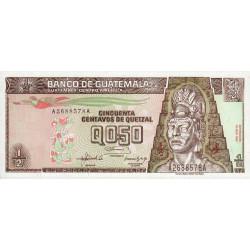 Guatémala - Pick 79 - 0,50 quetzal - 16/07/1992 - Série AA - Etat : NEUF