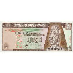 Guatémala - Pick 98 - 0,50 quetzal - 09/01/1998 - Série AA - Etat : NEUF