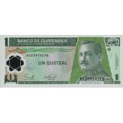 Guatémala - Pick 109 - 1 quetzal - 20/12/2006 - Série BB - Polymère - Etat : NEUF