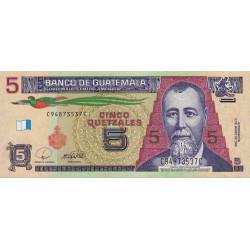Guatémala - Pick 116 - 5 quetzales - 12/03/2008 - Série CC - Etat : NEUF