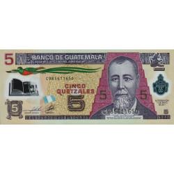 Guatémala - Pick 122b - 5 quetzales - 11/05/2011 - Série CD - Polymère - Etat : NEUF