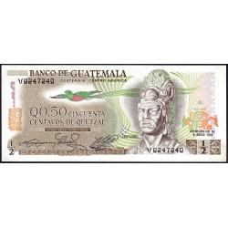 Guatémala - Pick 58c_5 - 0,50 quetzal - 06/01/1982 - Série V - Etat : NEUF