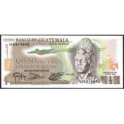 Guatémala - Pick 58c_6 - 0,50 quetzal - 06/01/1983 - Série W - Etat : NEUF
