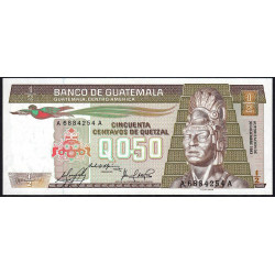 Guatémala - Pick 65_2 - 0,50 quetzal - 30/12/1983 - Série AA - Etat : NEUF