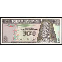 Guatémala - Pick 72a - 0,50 quetzal - 04/01/1989 - Série AB - Etat : NEUF