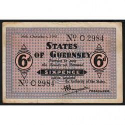 Guernesey - Pick 22 - 6 pence - 16/10/1941 - Etat : TB+