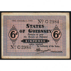 Guernesey - Pick 22 - 6 pence - Série C - 16/10/1941 - Etat : TB+