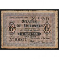 Guernesey - Pick 22 - 6 pence - 16/10/1941 - Etat : B+