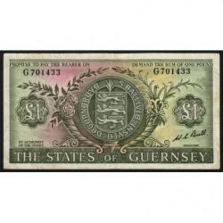 Guernesey - Pick 45c - 1 pound - Série G - 1969 - Etat : TB+