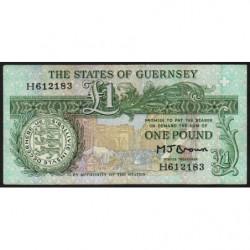 Guernesey - Pick 48b - 1 pound - Série H - 1989 - Etat : TTB