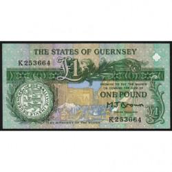 Guernesey - Pick 52a - 1 pound - Série K - 1991 - Etat : NEUF