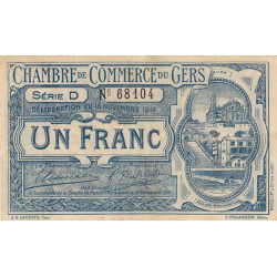Auch (Gers) - Pirot 15-3 - 1 franc - Série D - 18/11/1914 - Etat : TTB
