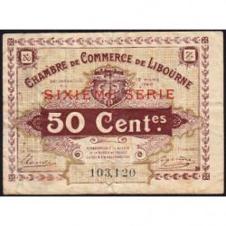 Libourne - Pirot 72-29 - 50 centimes - Sixième série - 12/03/1920 - Etat : TB-