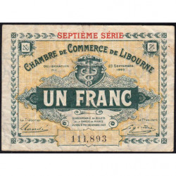 Libourne - Pirot 72-33 - 1 franc - 1920 - Etat : TB