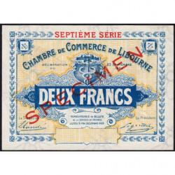 Libourne - Pirot non répertorié - 2 francs - 1920 - Spécimen - Etat : SUP+