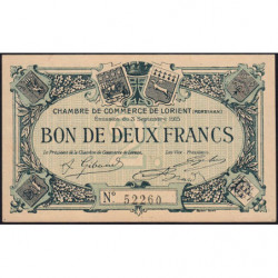 Lorient (Morbihan) - Pirot 75-11 - 2 francs - 1915 - Etat : SPL+