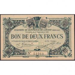 Lorient (Morbihan) - Pirot 75-11 - 2 francs - Sans Série - 03/09/1915 - Etat : SPL+